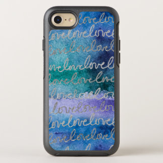 Love Blue Purple Silver Abstract Modern Watercolor OtterBox Symmetry iPhone 8/7 Case