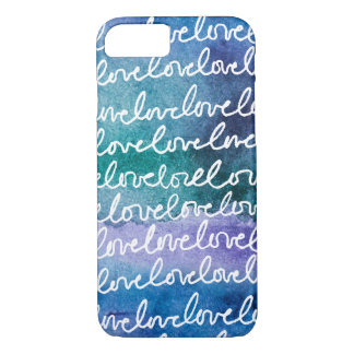 Love Blue Purple White Abstract Modern Watercolor iPhone 8/7 Case