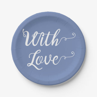 Love Blue & White Bridal Shower, Wedding Party Paper Plate