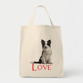 Love Border Collie Puppy Dog Tote Bag