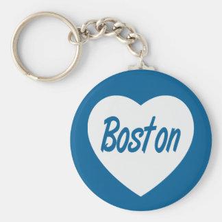 Love Boston MA  White Heart Travel Keychain