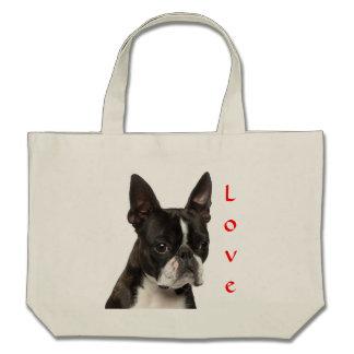 Love Boston Terrier Puppy Dog Canvas Beach Totebag Bag
