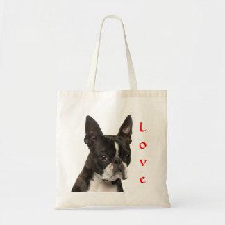 Love Boston Terrier Puppy Dog Canvas Beach Totebag Budget Tote Bag