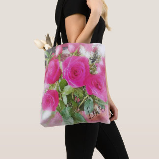 Love Bouquet of Roses Design Tote Bag