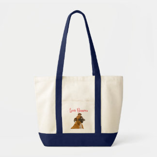Love Boxer Puppy Dog Canvas Tote Bag