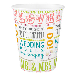 Love Bridal Shower Party Cups, I Do! Mr & Mrs Paper Cup