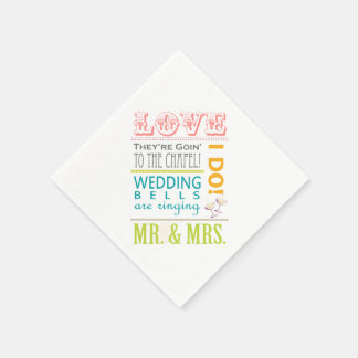 Love Bridal Shower Party Napkins, I Do! Mr & Mrs Disposable Napkin