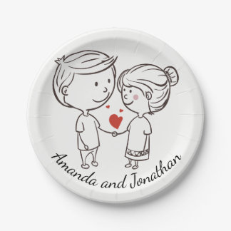 Love Bride, Groom Personalized Black White Wedding Paper Plate
