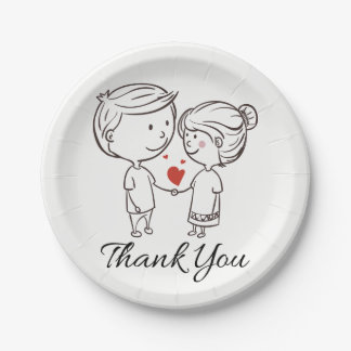 Love Bride, Groom Thank You Black White Wedding 7 Inch Paper Plate