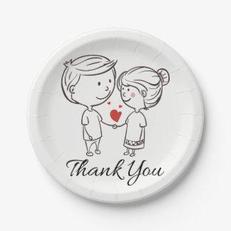 Love Bride, Groom Thank You Black White Wedding Paper Plate