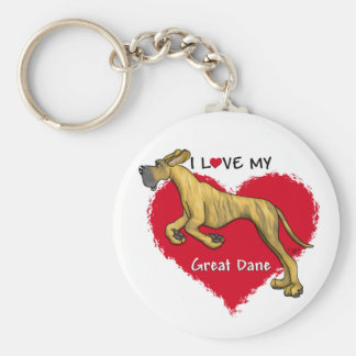 Love Brindle Great Dane UC Basic Round Button Key Ring