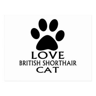 LOVE BRITISH SHORTHAIR CAT DESIGNS POSTCARD