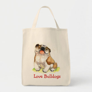Love Bulldogs Happy Cartoon Bulldog Grocery Tote Grocery Tote Bag