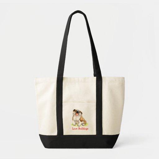 Love Bulldogs Happy Cartoon Bulldog Tote Bag