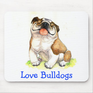 Love Bulldogs Happy Puppy Cartoon Bulldog Mousepad