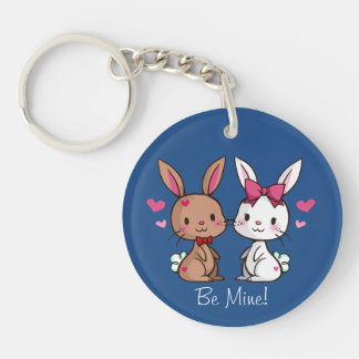 Love Bunnies Single-Sided Round Acrylic Key Ring