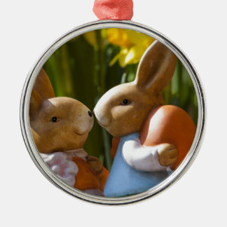 Love bunny Silver-Colored round decoration