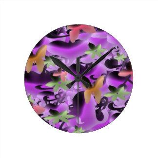 Love & Butterflies in Purple Wall Clocks
