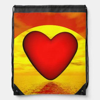 Love by sunset - 3D render Drawstring Bag