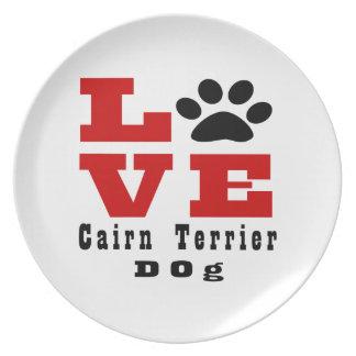 Love Cairn Terrier Dog Designes Dinner Plates