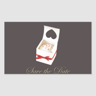 Love Cake Save the Date Rectangle Sticker