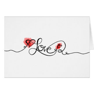 LOVE Calligraphy Watercolor Valentine's Day Photo Card