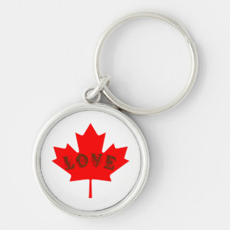 love Canada Day red maple leaf key chain
