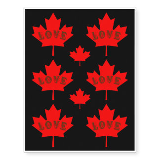 Love Canada Day red maple leaf temporary tattoo