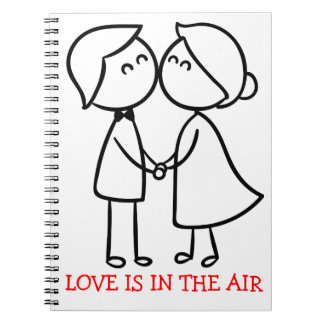 Love Cartoon Black White Kissing Couple - Wedding Spiral Notebook