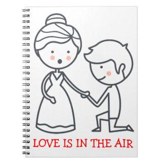 Love Cartoon Bride & Groom Black White Wedding Spiral Notebook
