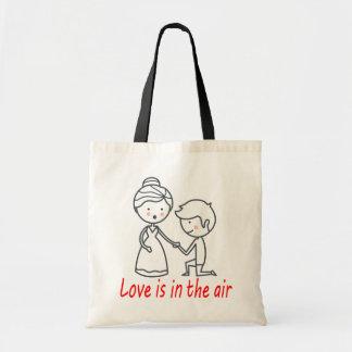 Love Cartoon Bride & Groom Wedding,  Engagement Tote Bag