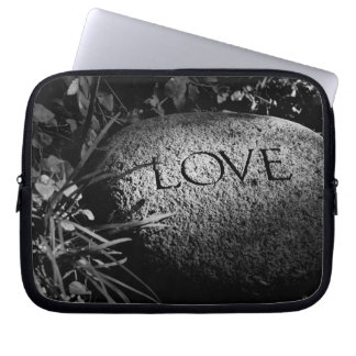 """Love"" Carved Stone in Black and White Laptop Sleeve"