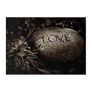 """Love"" Carved Stone in Sepia Acrylic Print"