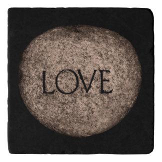 """""""Love"""" Carved Stone Trivet"""