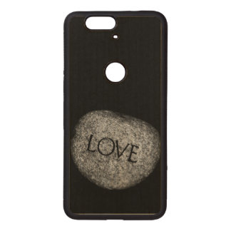"""Love"" Carved Stone Wood Nexus 6P Case"
