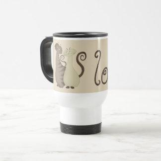 Love Cat Couple Cartoon Elegant Romantic Cute Chic Travel Mug