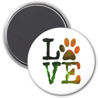 Love Cat or Dog Paw print Magnet