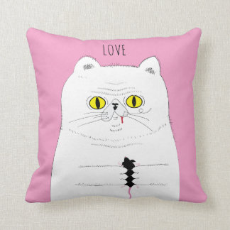 LOVE Cat With Mouse Funny Drawing Cushion