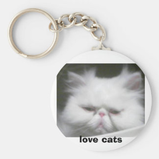 LOVE CATS BASIC ROUND BUTTON KEY RING