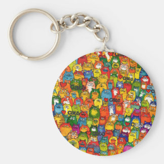 love cats colourful smiley cat key ring