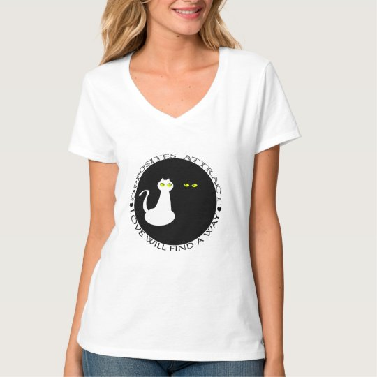 Love Cats Cool Black White Cute Opposites Simple T-Shirt