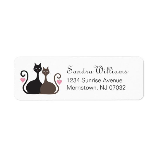Love Cats Design Custom Return Address Label