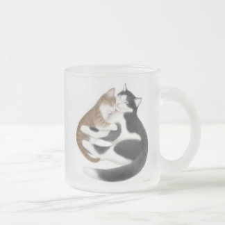 Love Cats Frosted Glass Mug