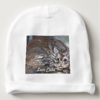 """Love Cats"" Painting on Baby Hat Baby Beanie"