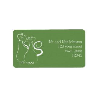 Love Cats Twosome Green Address Label