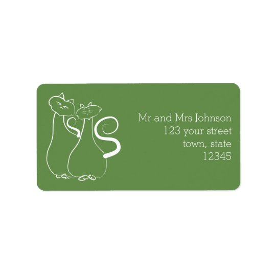 Love Cats Twosome Green Address Label