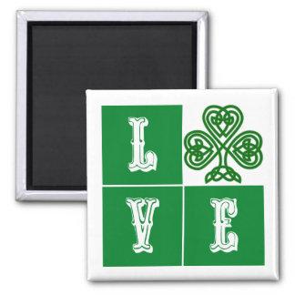 Love Celtic Shamrock Hearts Square Magnet