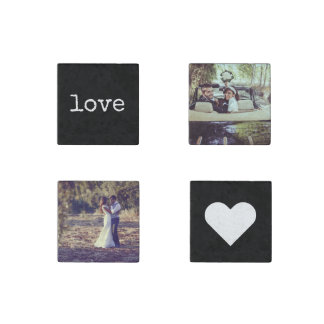 Love Chalkboard Style Photo Stone Magnet