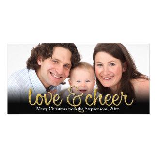Love Cheer Glitter Shiny Effect Christmas Photo Card Template