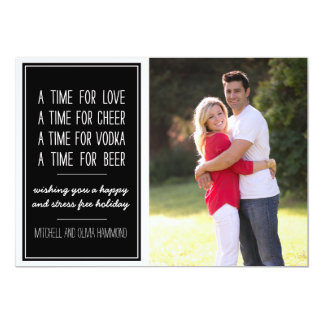 Love Cheer Vodka Beer Humorous Holiday Photo Card